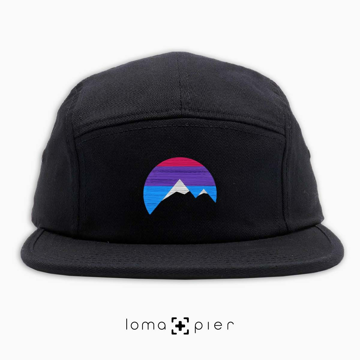 I'M PEAKING mountains icon 5-panel hat in black by loma+pier beanie store
