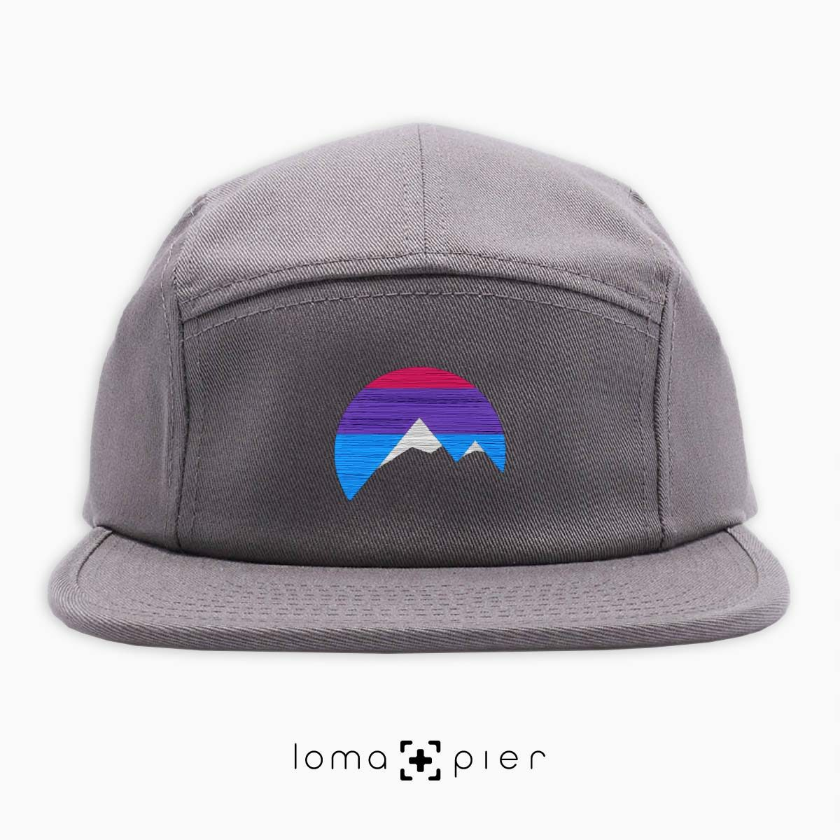 I'M PEAKING mountains icon 5-panel hat in grey by loma+pier beanie store