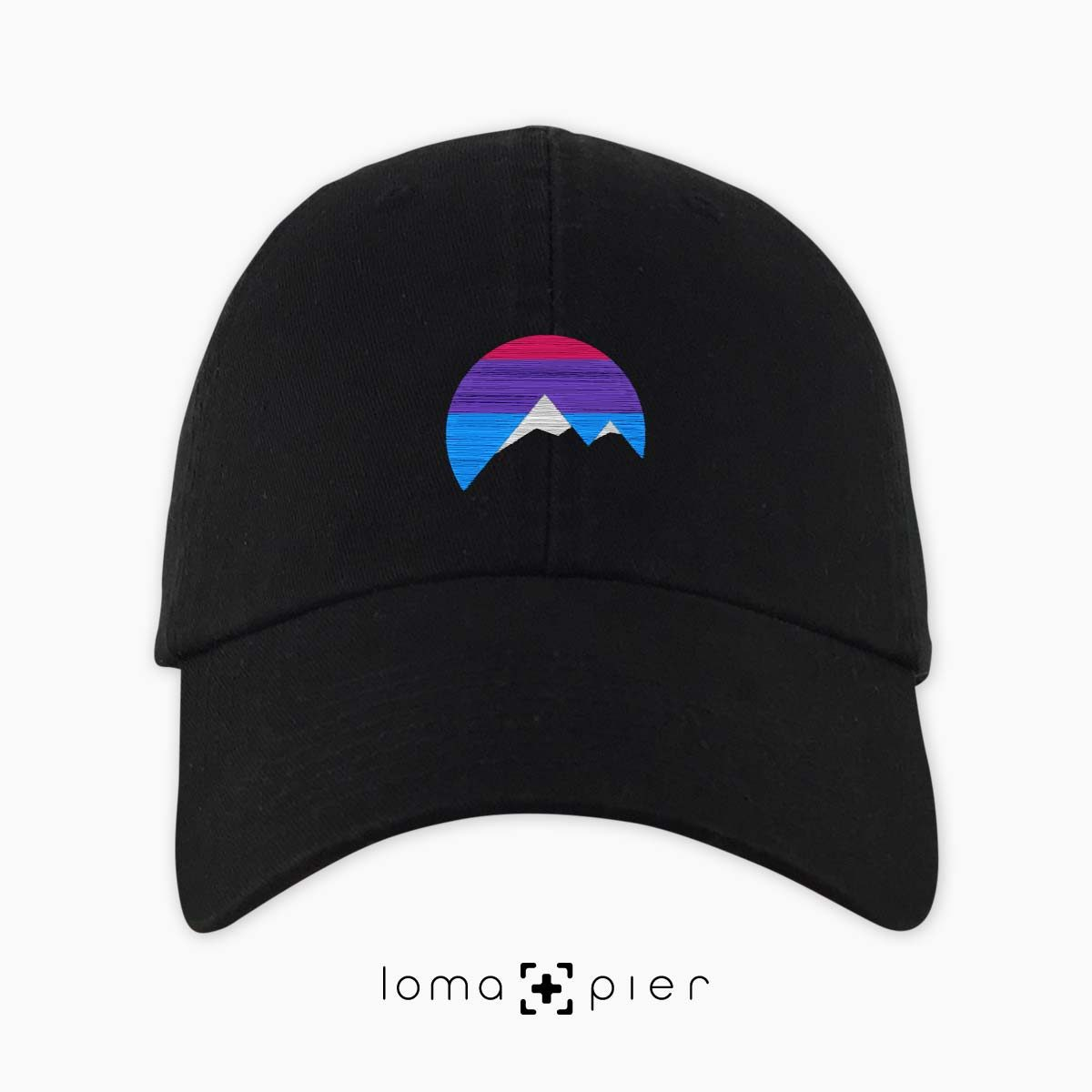 I'M PEAKING mountains icon dad hat in black by loma+pier beanie store