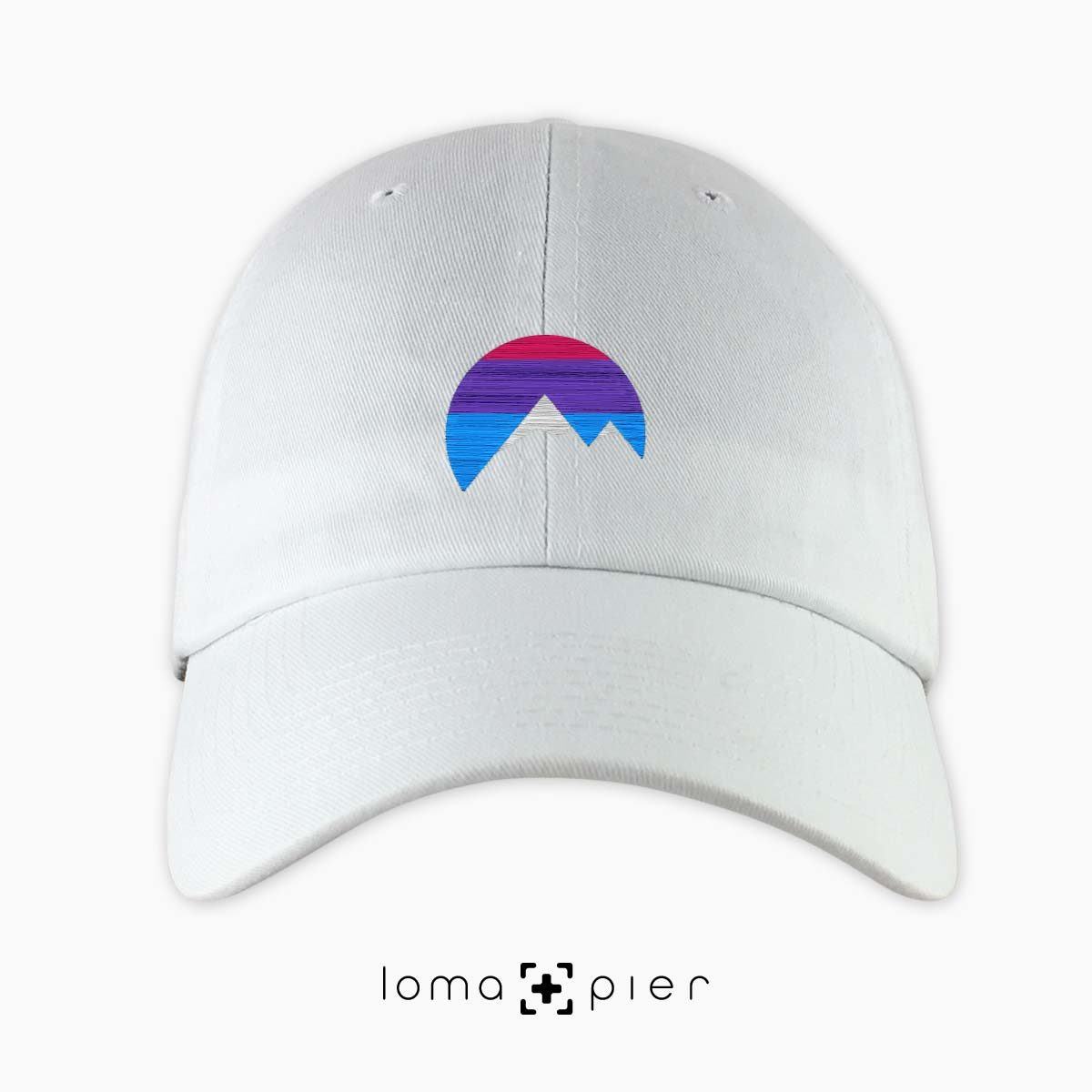 I'M PEAKING mountains icon dad hat in white by loma+pier beanie store