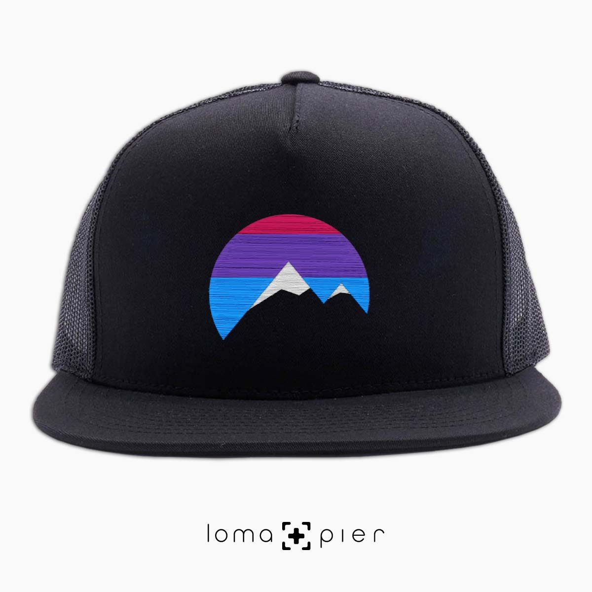I'M PEAKING mountains icon netback hat in black by loma+pier beanie store