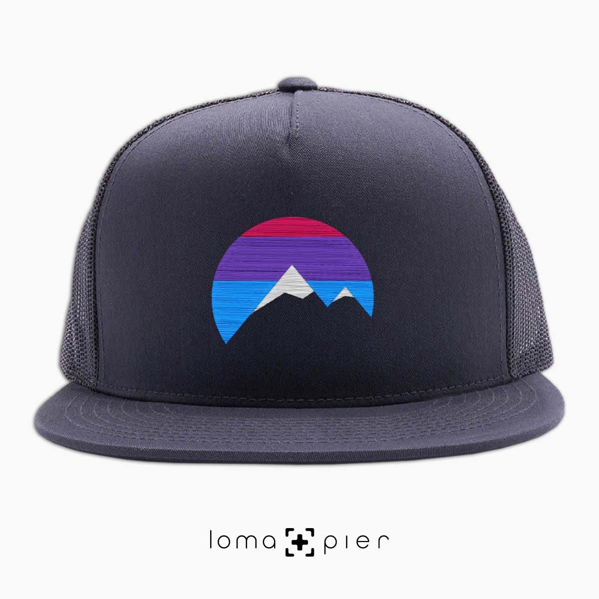 I'M PEAKING mountains icon netback hat in charcoal by loma+pier beanie store