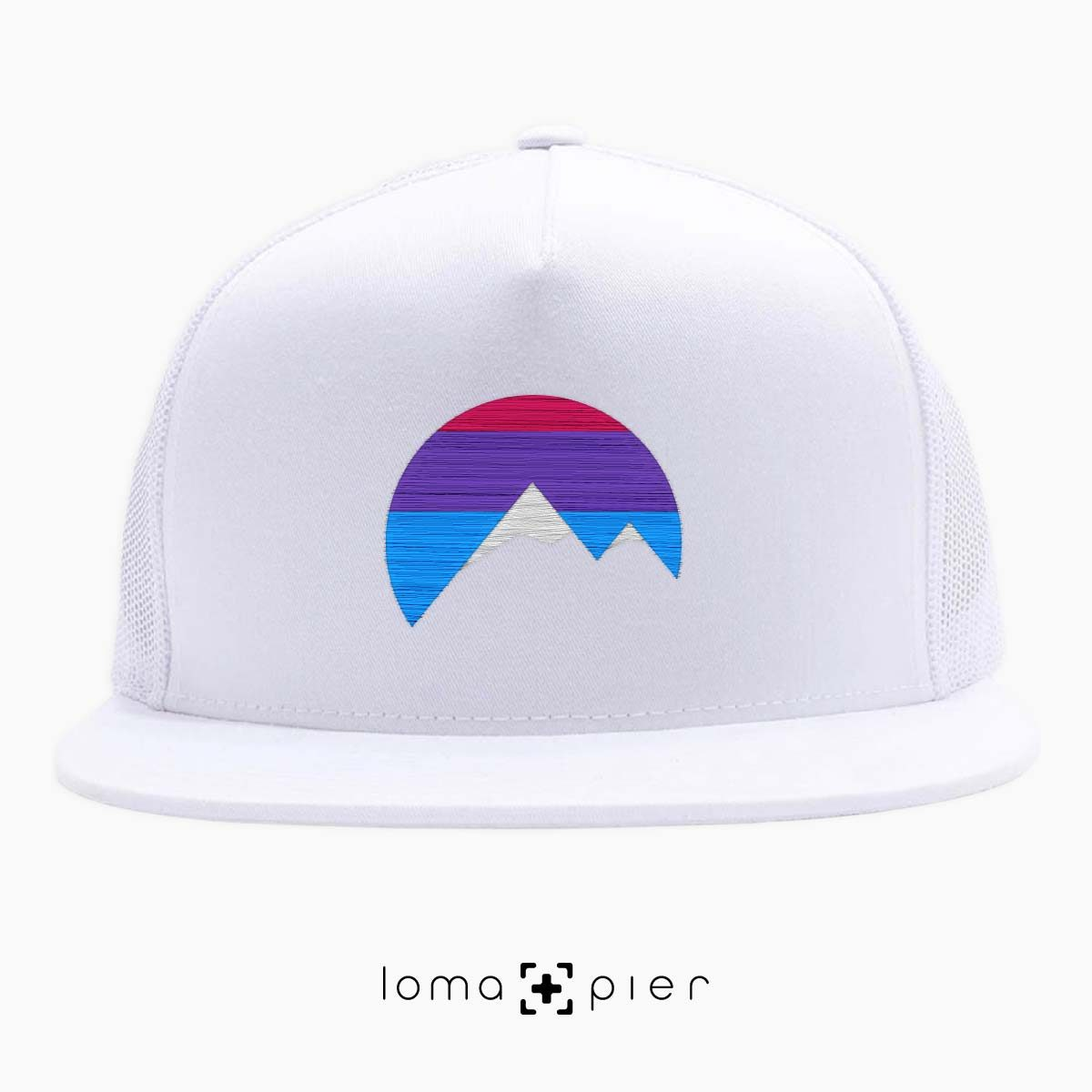 I'M PEAKING mountains icon netback hat in white by loma+pier beanie store