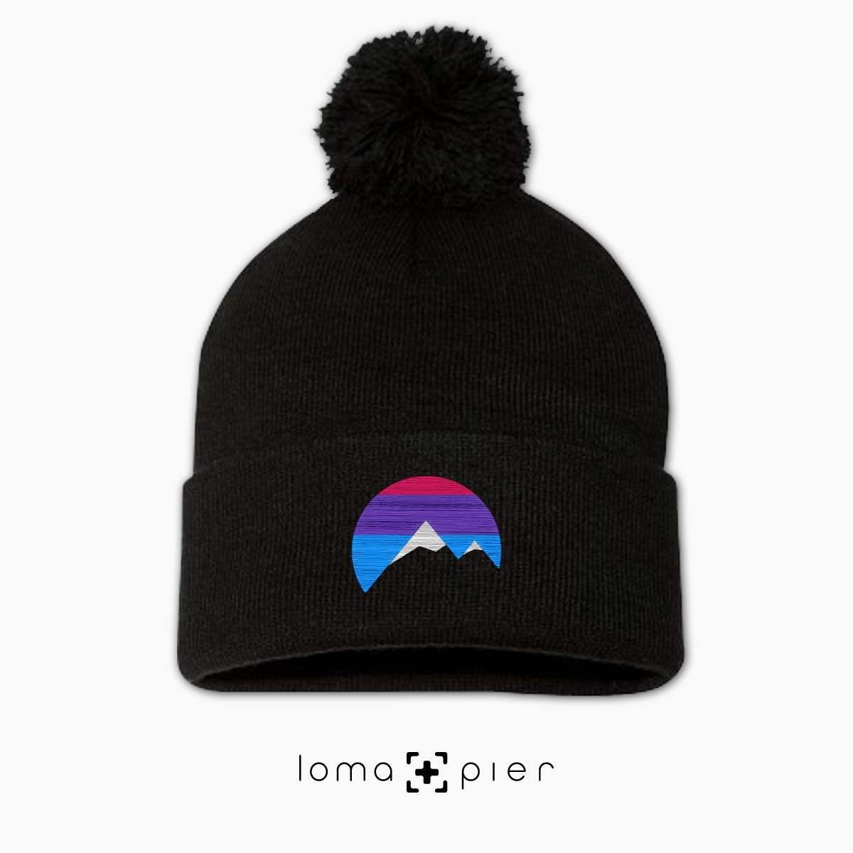 I'M PEAKING mountains icon beanie in black by loma+pier beanie store