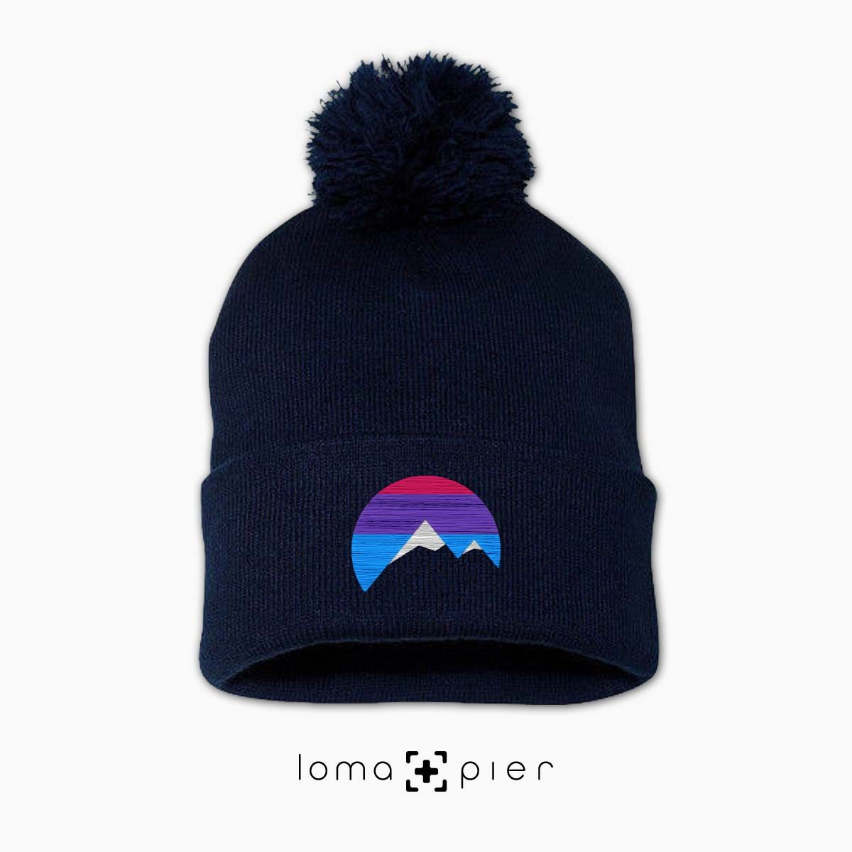 I'M PEAKING mountains icon beanie in navy by loma+pier beanie store