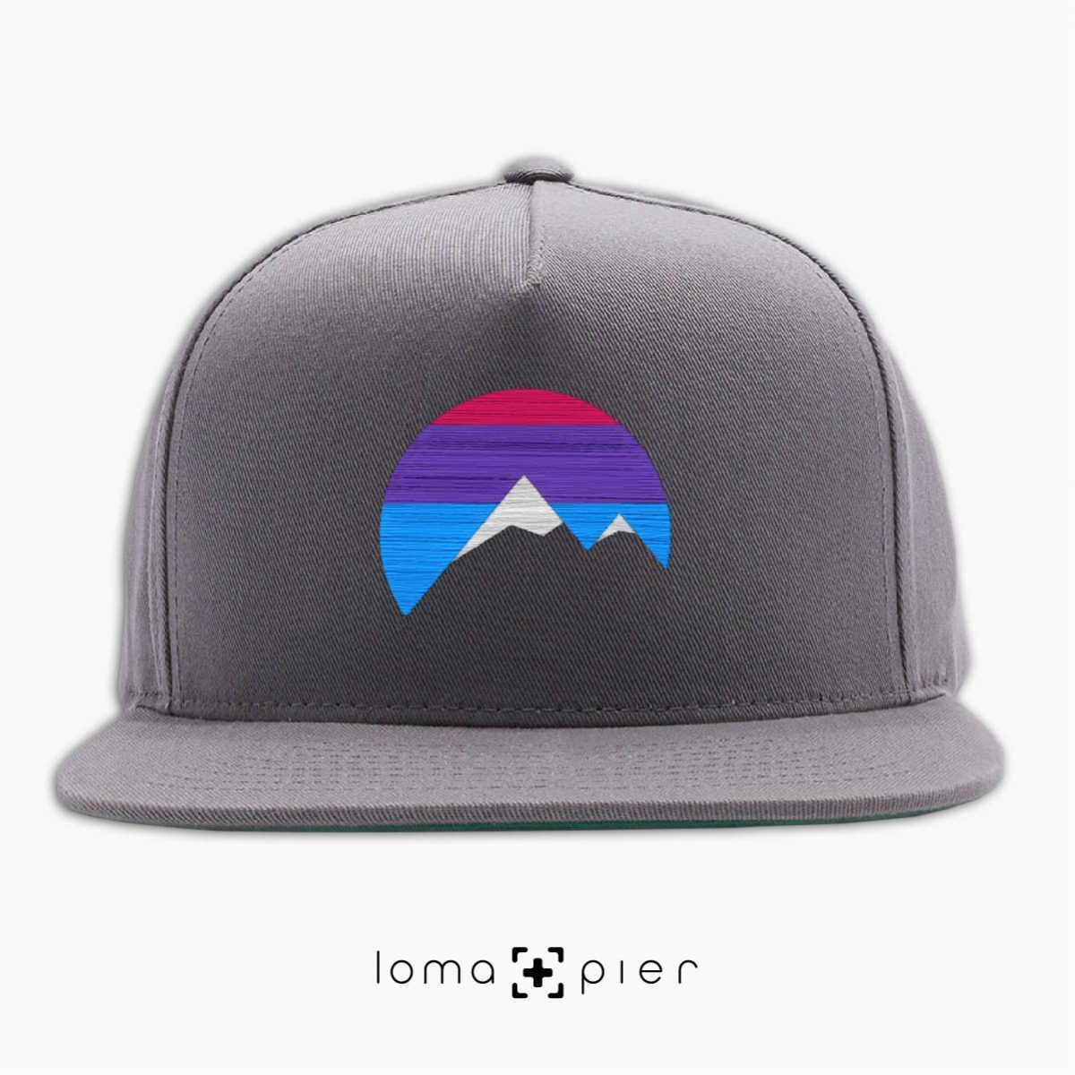 I'M PEAKING mountains icon snapback hat in grey by loma+pier beanie store