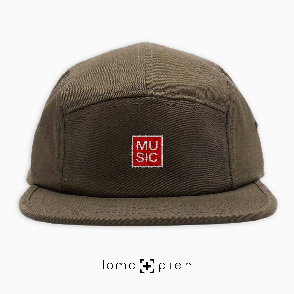 MUSIC BOX cotton 5-panel hat in olive green by loma+pier hat store