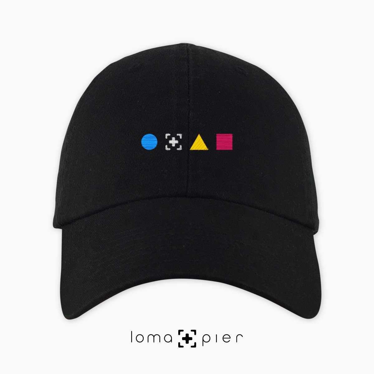 colorful shapes dad hat in black by loma+pier hat store