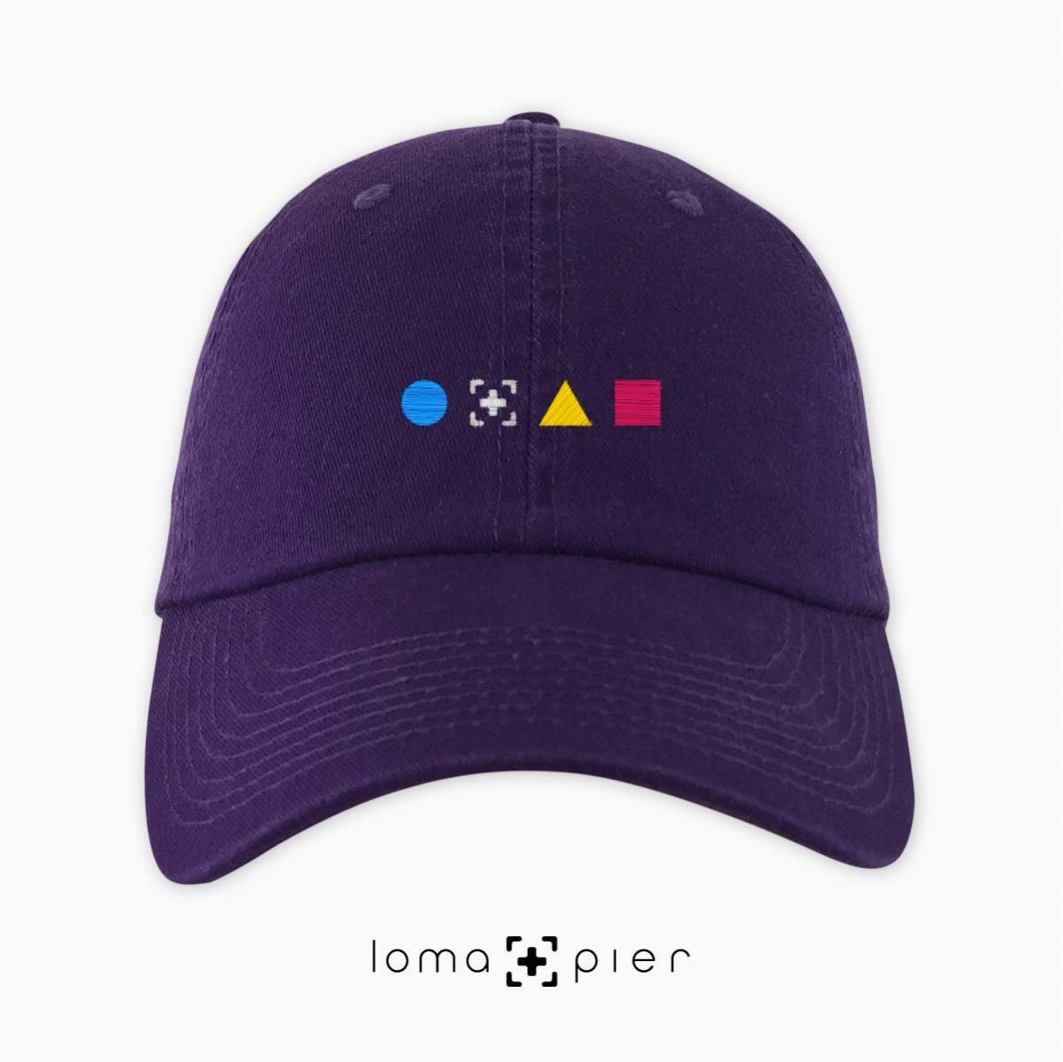 colorful shapes dad hat in purple by loma+pier hat store