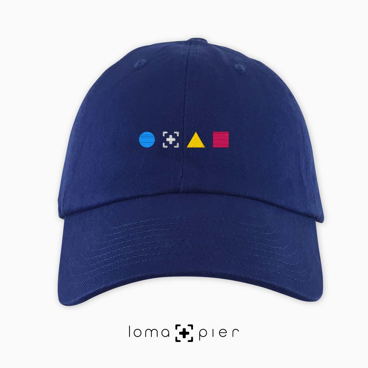 colorful shapes dad hat in blue by loma+pier hat store