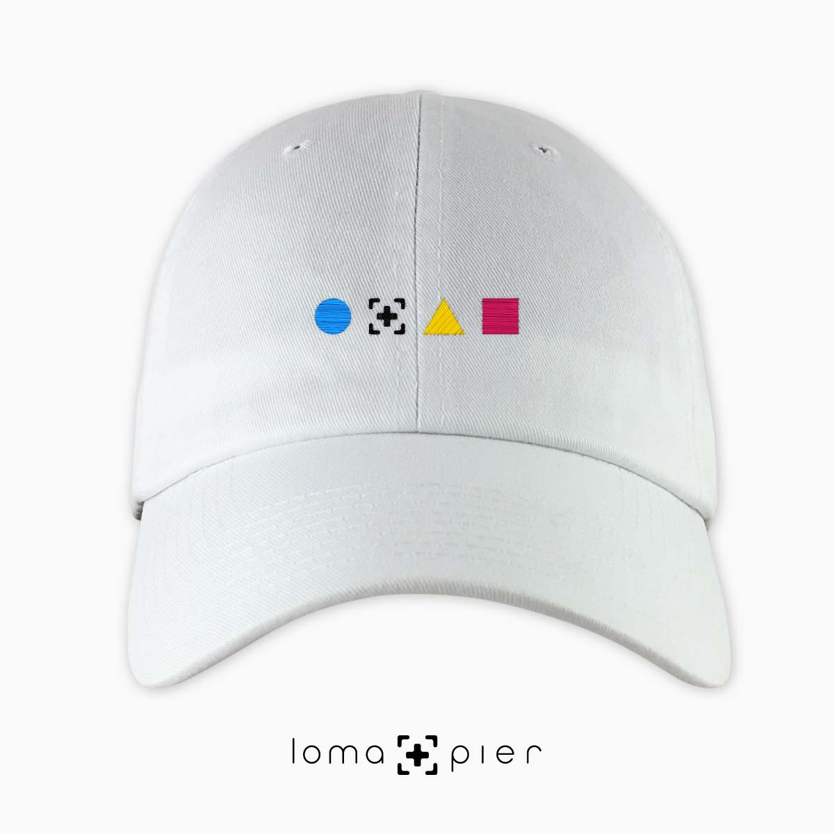 colorful shapes dad hat in white by loma+pier hat store