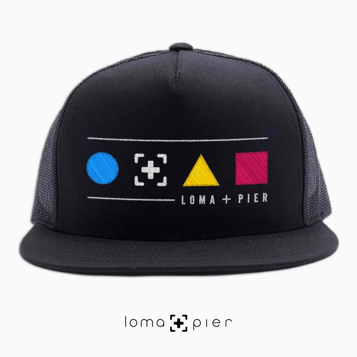 neon shapes beach trucker hat in black by lomapier hat store