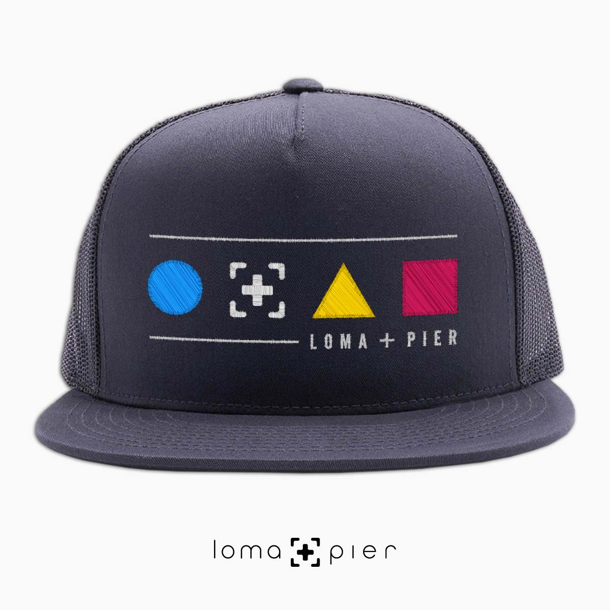 neon shapes beach trucker hat in charcoal by lomapier hat store