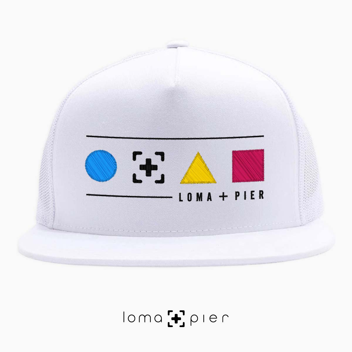 neon shapes beach trucker hat in white by lomapier hat store
