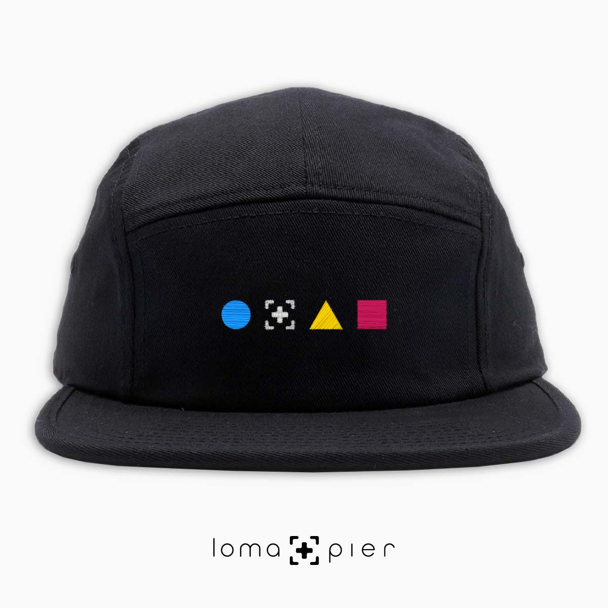 colorful shapes 5-panel hat in black by loma+pier hat store