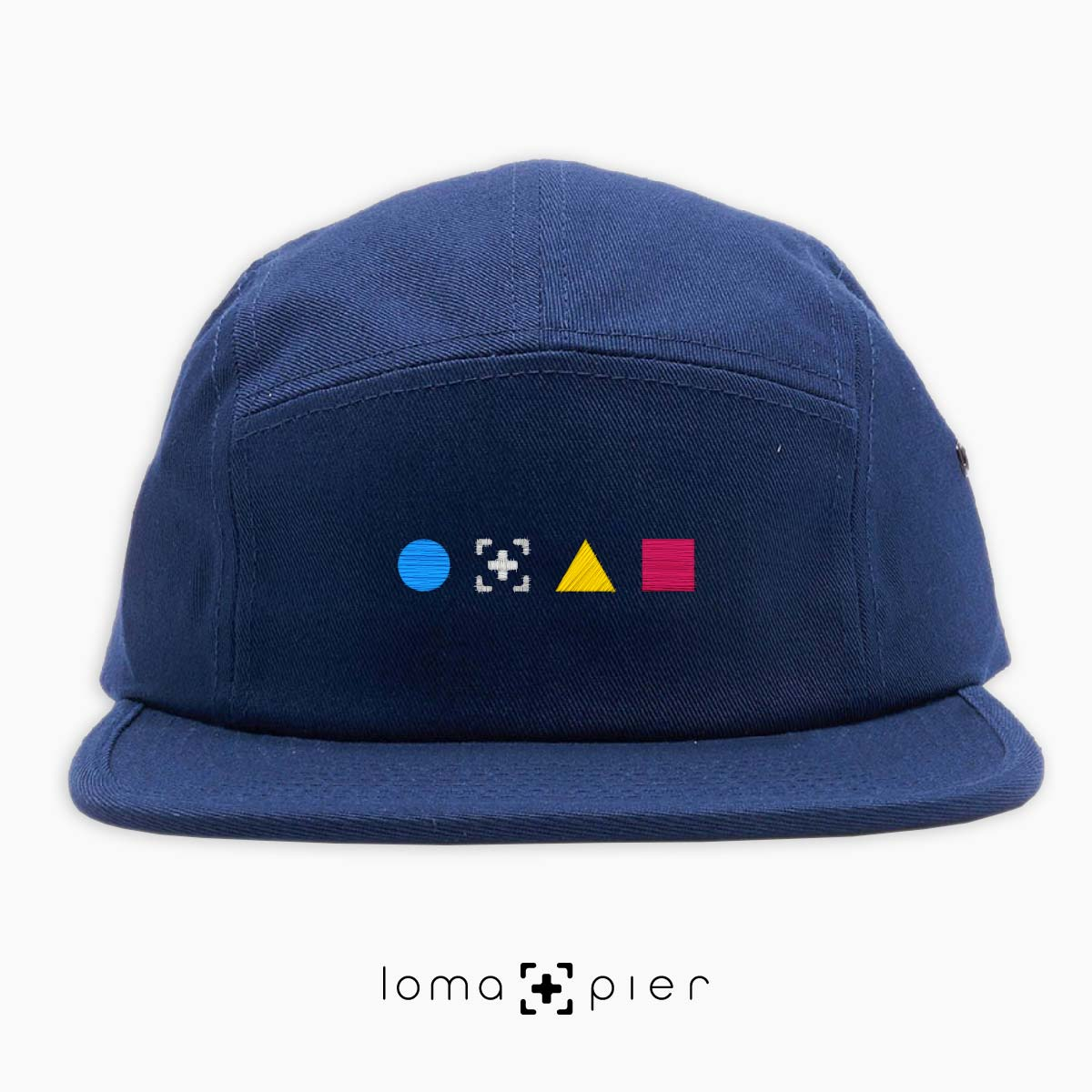 colorful shapes 5-panel hat in navy by loma+pier hat store