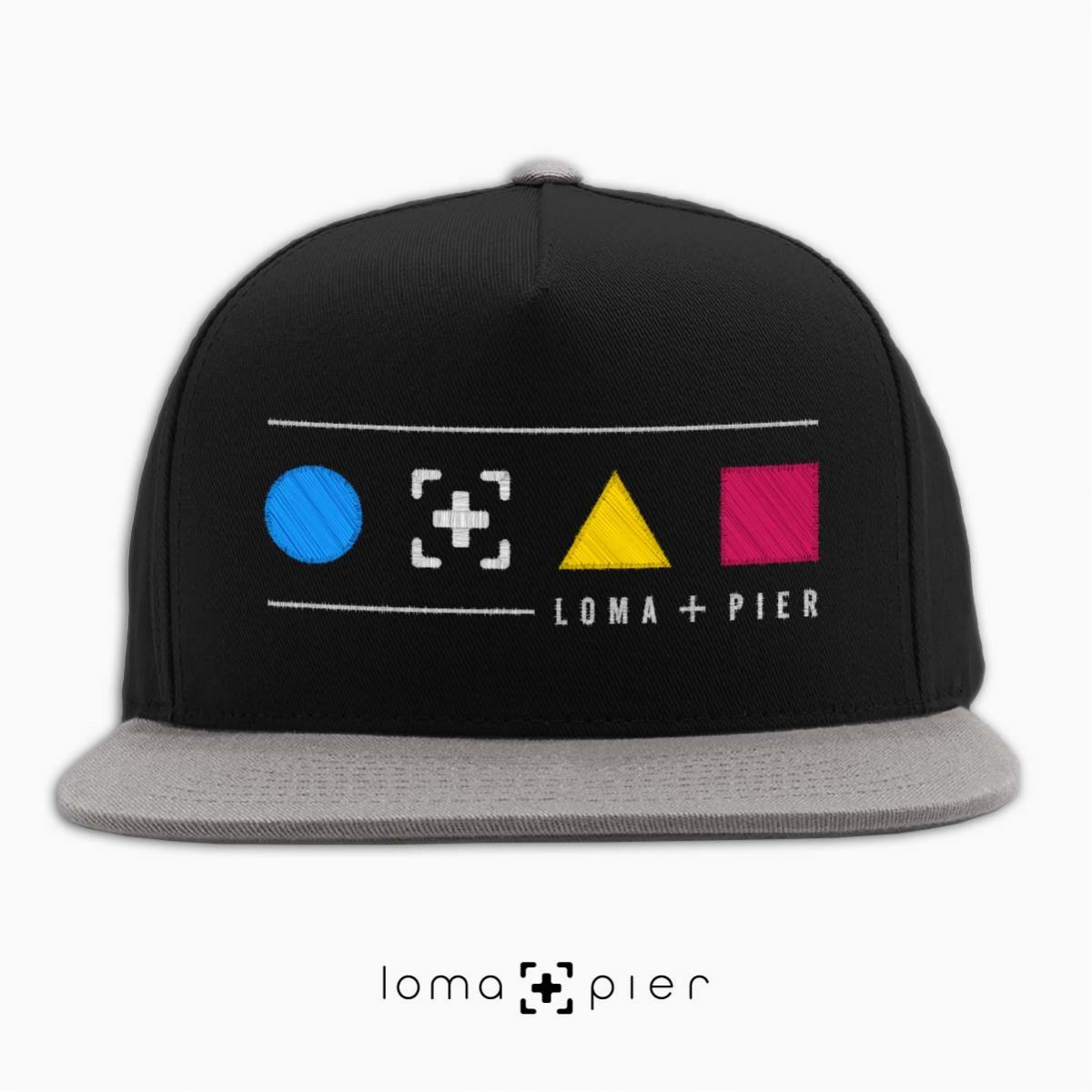 colorful shapes with loma+pier callout snapback hat in black/grey
