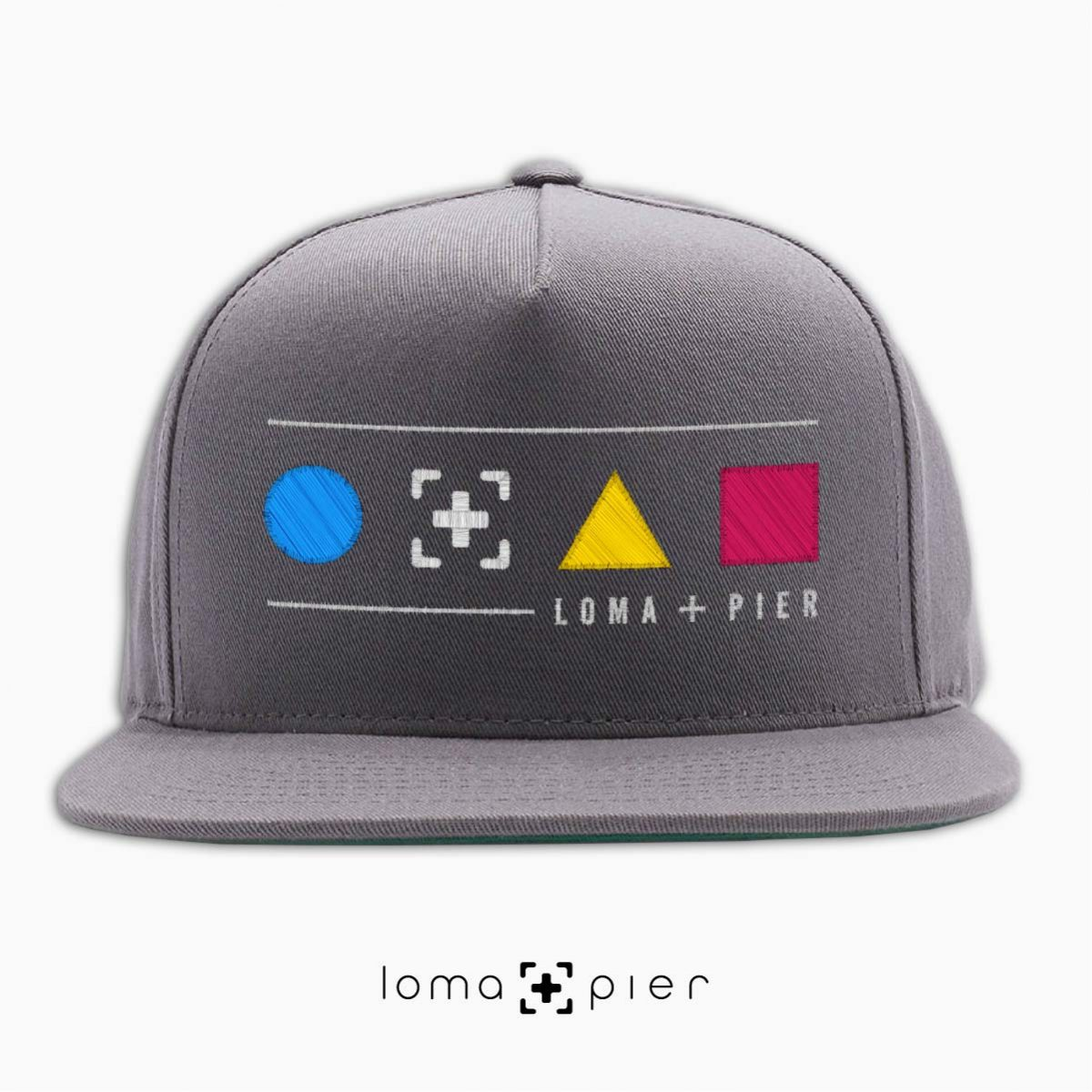 colorful shapes with loma+pier callout snapback hat in grey