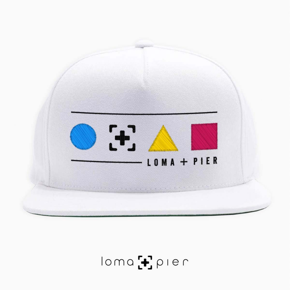 colorful shapes with loma+pier callout snapback hat in white