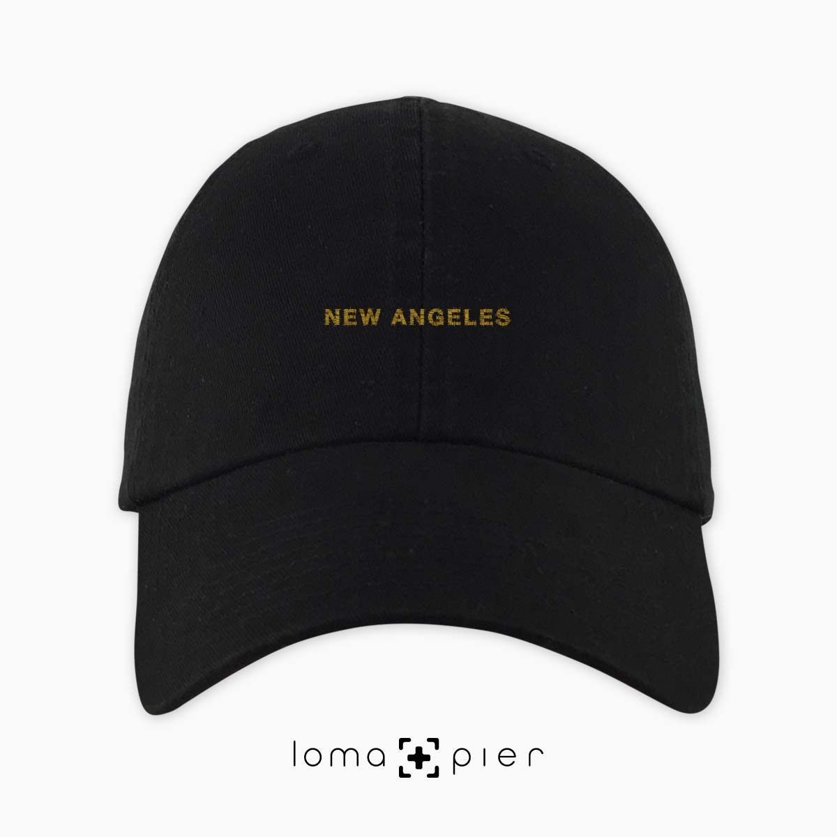 NEW ANGELES typography embroidered black dad hat gold thread loma+pier hat store made in USA