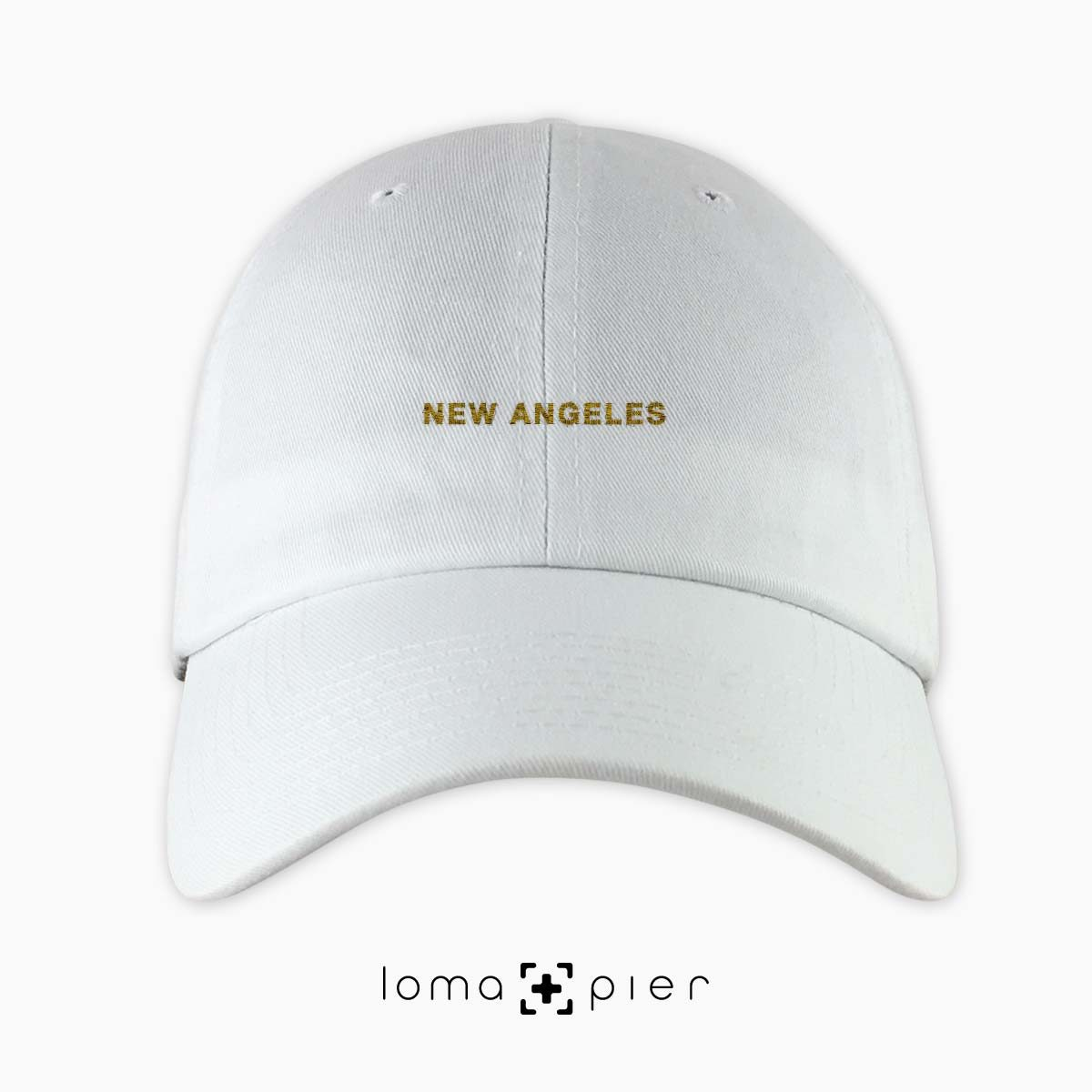 NEW ANGELES typography embroidered white dad hat gold thread loma+pier hat store made in USA