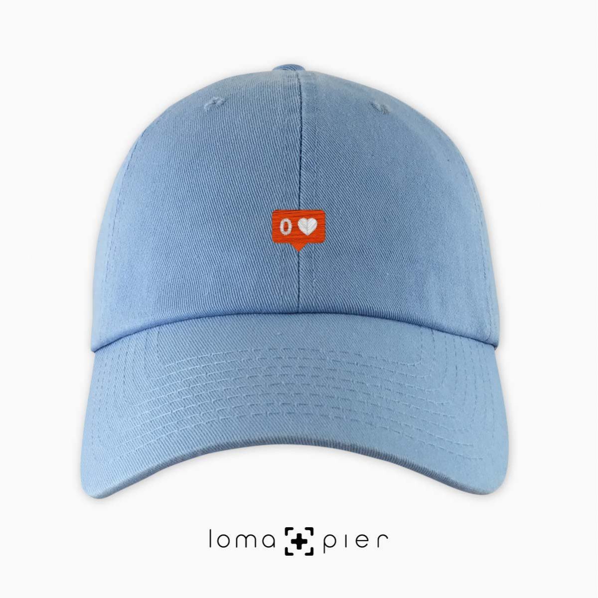 NO LOVE icon dad hat in light blue by loma+pier hat store