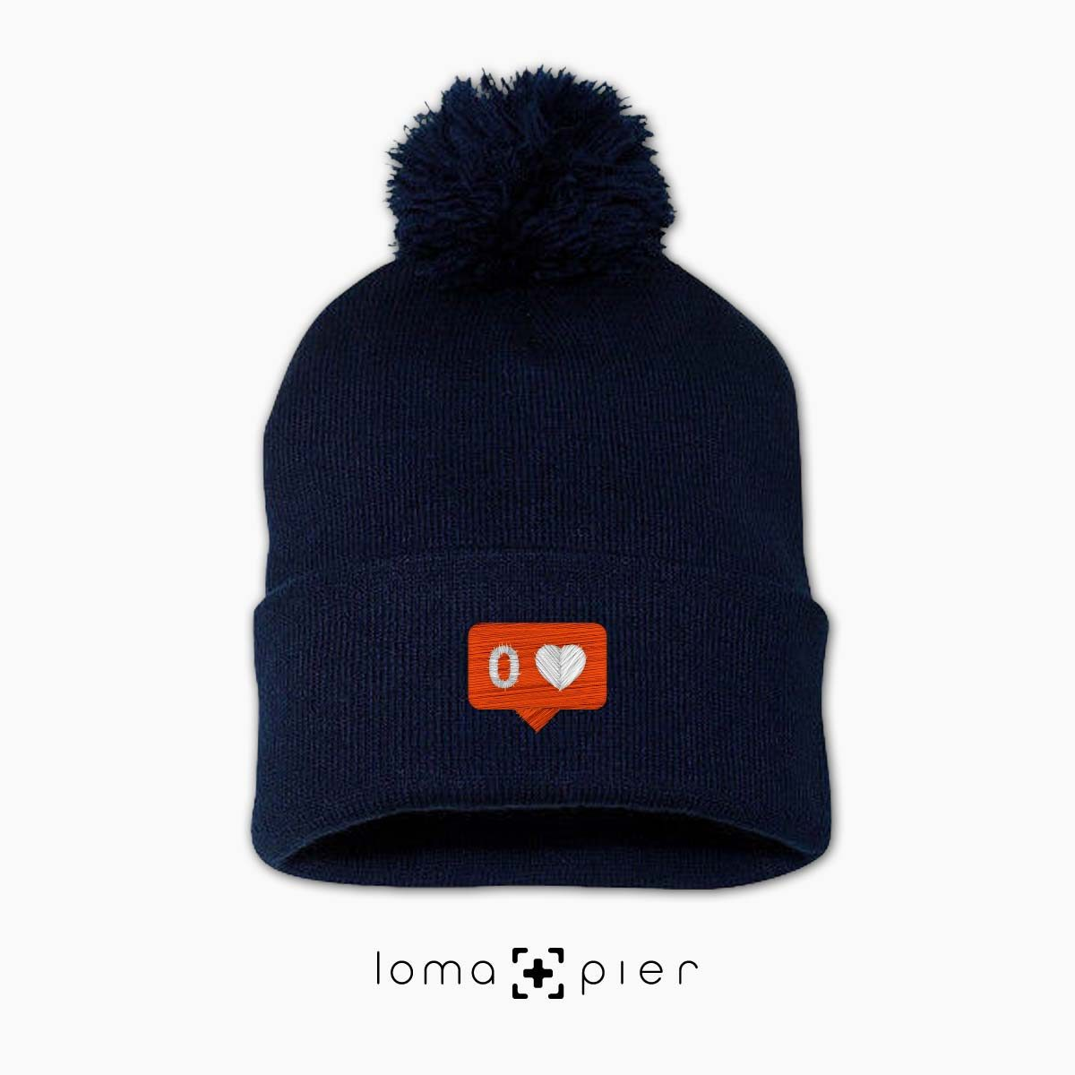 NO LOVE icon beanie in navy blue by loma+pier beanie store