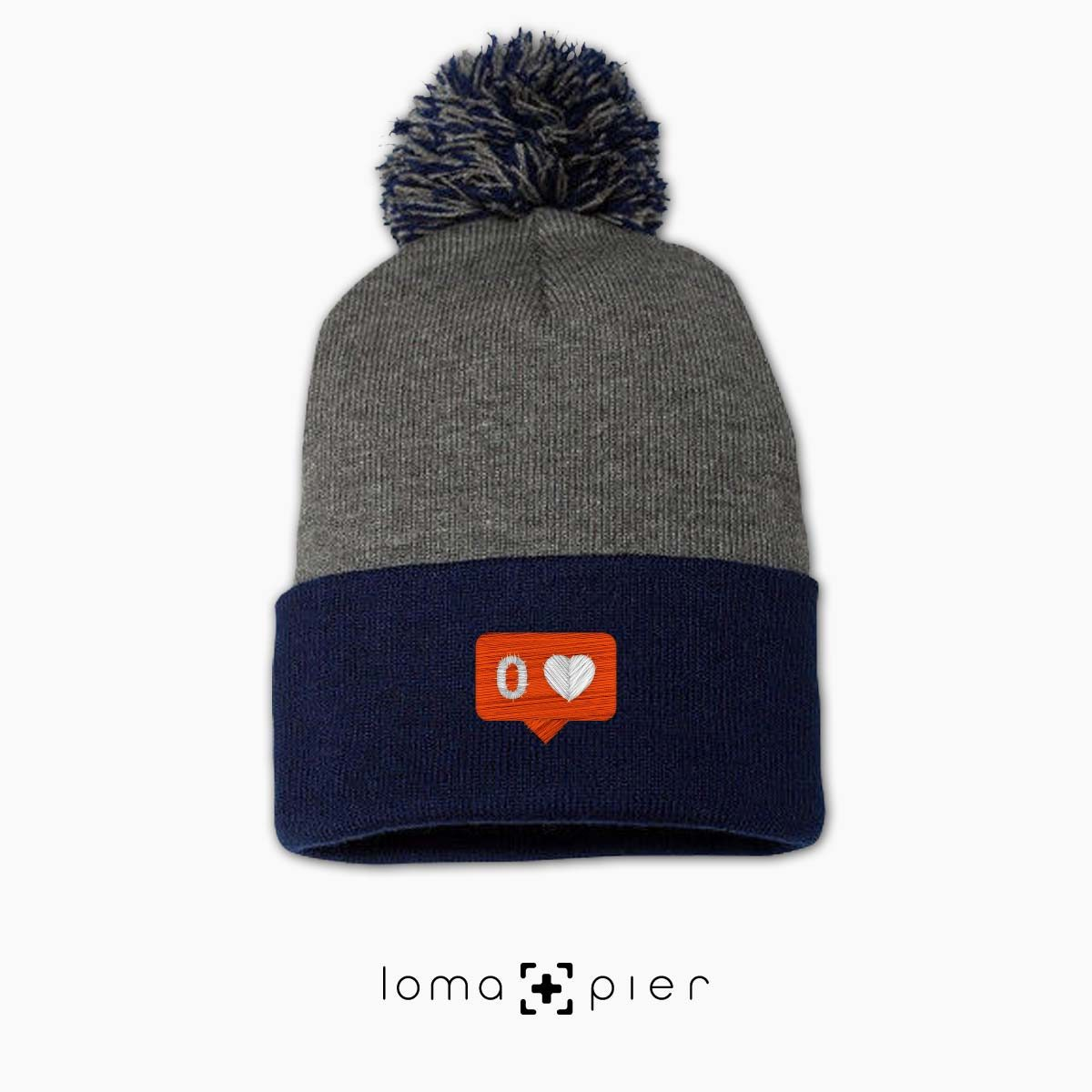 NO LOVE icon beanie in navy blue grey by loma+pier beanie store