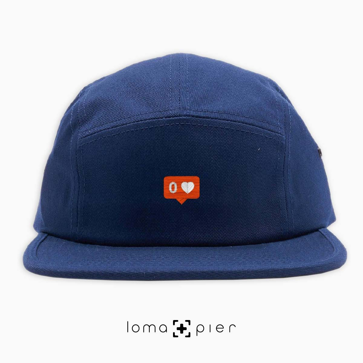 NO LOVE icon 5-panel hat in navy blue by loma+pier hat store