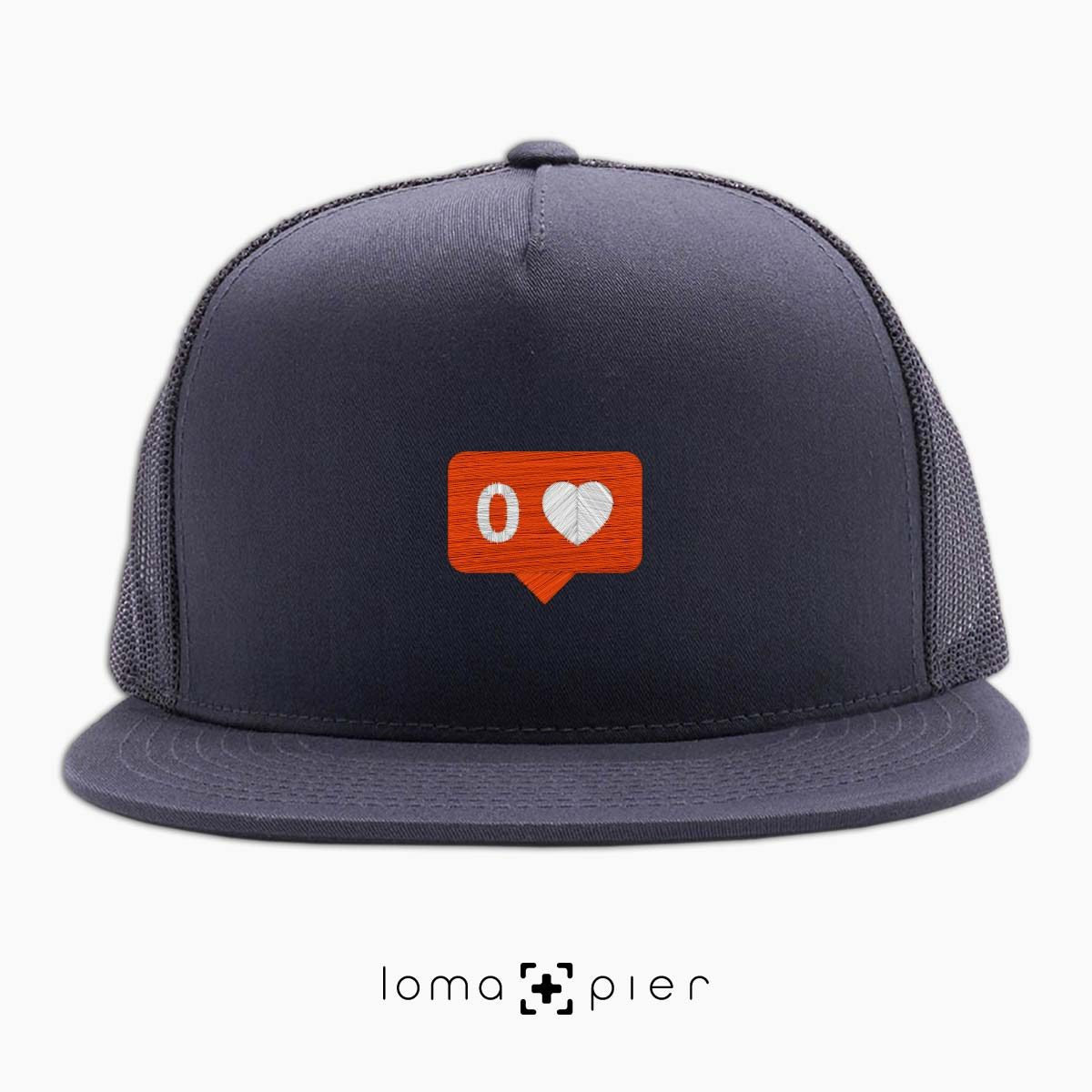 NO LOVE ironic trucker hat in charcoal by lomapier hat store