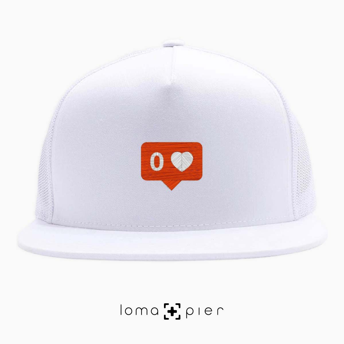NO LOVE ironic trucker hat in white by lomapier hat store