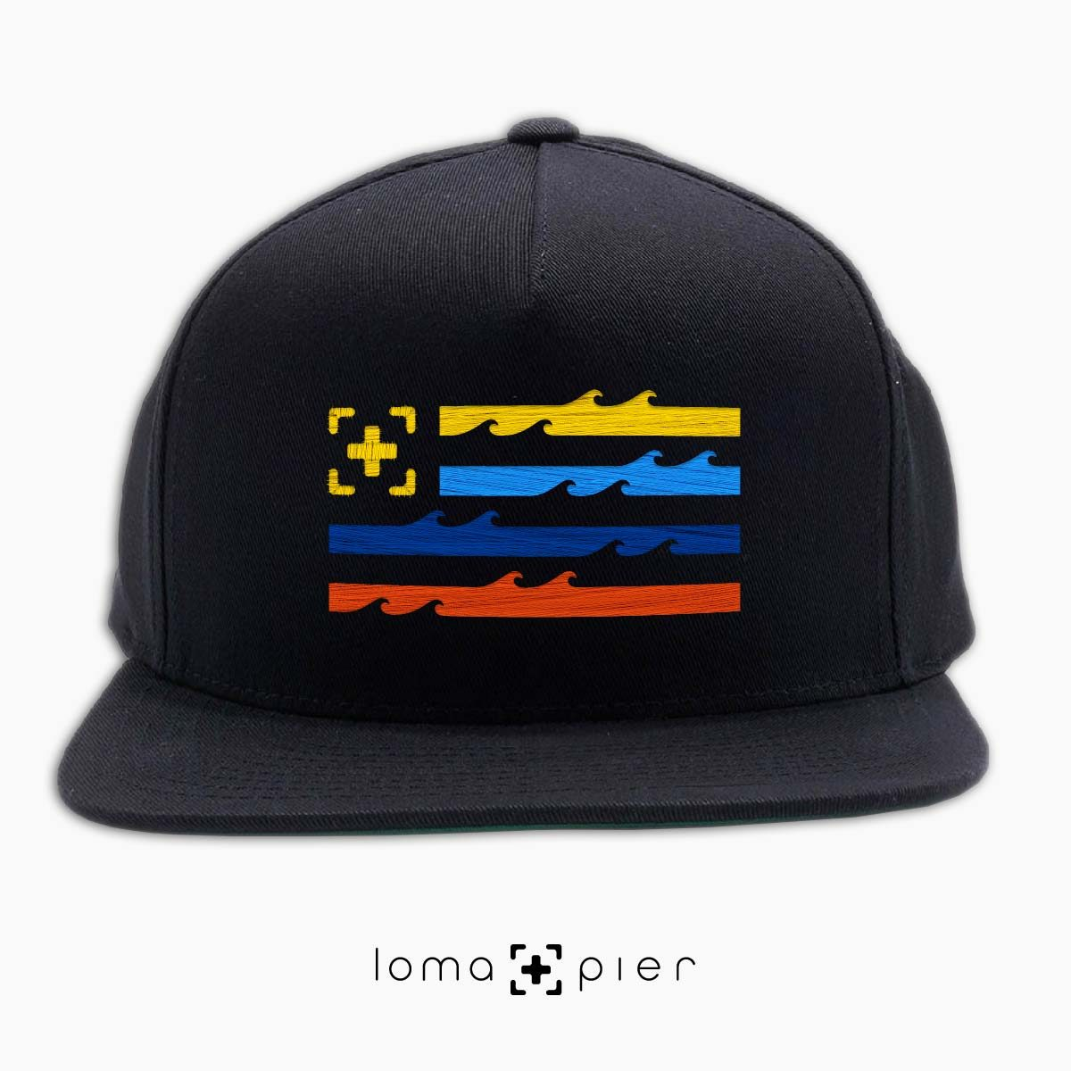 LAND OF THE SEA ocean waves flag hat in black by loma+pier hat store