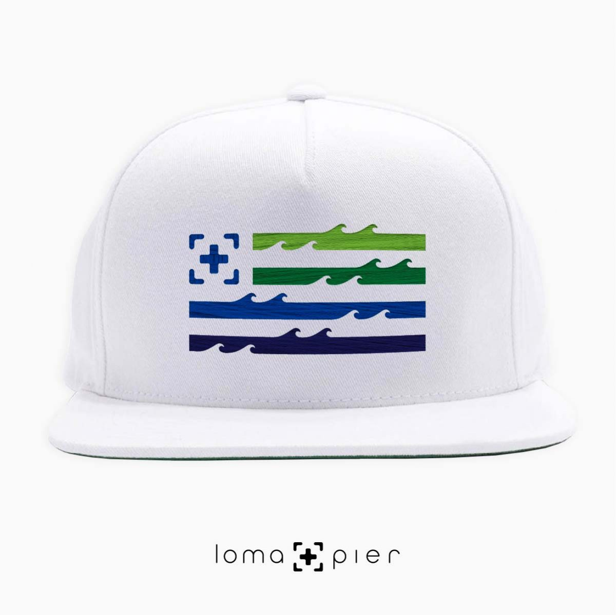 LAND OF THE SEA ocean waves flag hat in white by loma+pier hat store