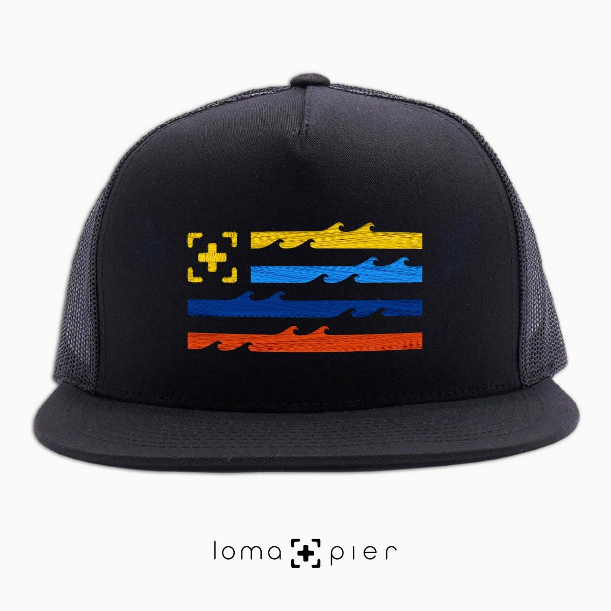 LAND OF THE SEA ocean waves flag beach netback hat in black by loma+pier hat store