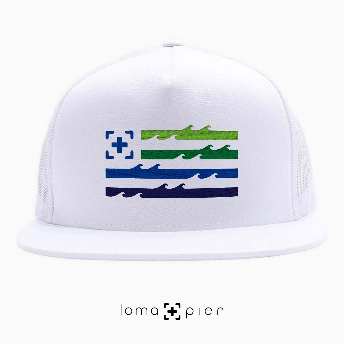 LAND OF THE SEA ocean waves flag beach netback hat in white by loma+pier hat store