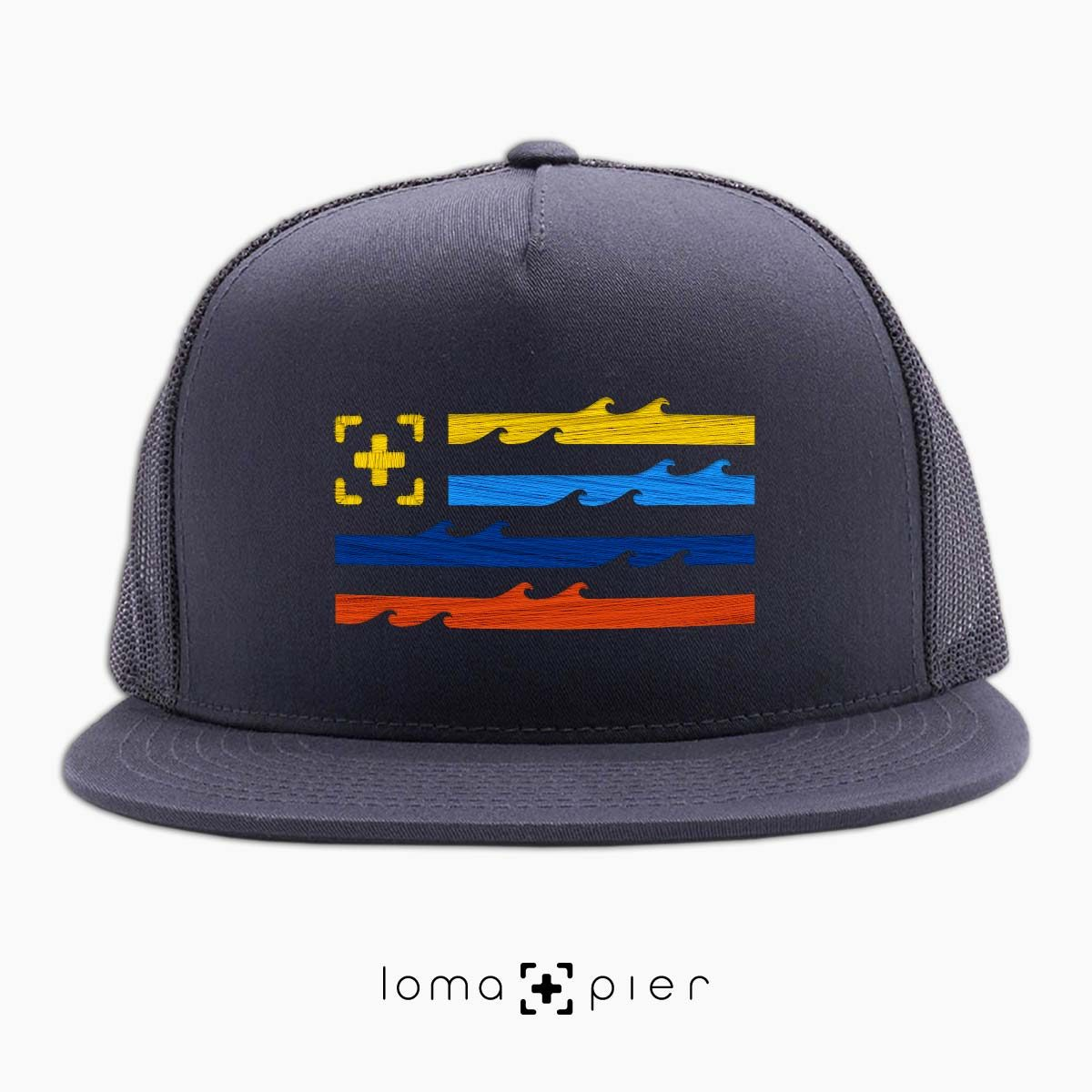 LAND OF THE SEA ocean waves flag beach netback hat in charcoal by loma+pier hat store