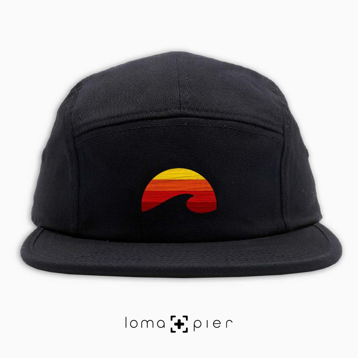 PACIFIC SUN icon embroidered on a black cotton 5-panel hat by loma+pier hat store