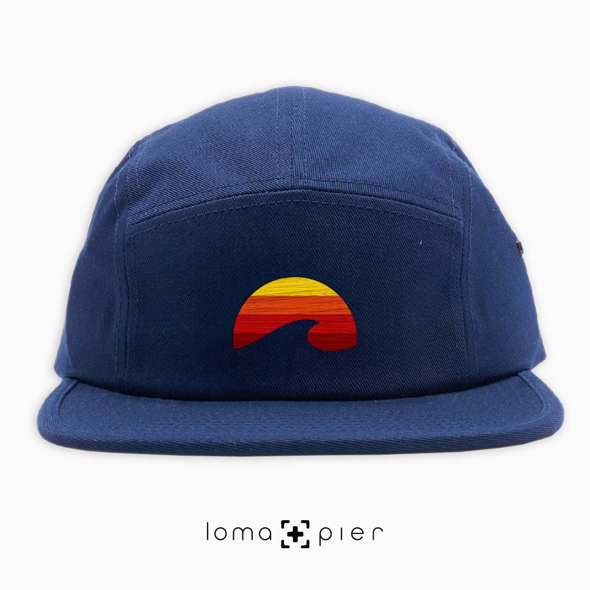 PACIFIC SUN icon embroidered on a navy cotton 5-panel hat by loma+pier hat store