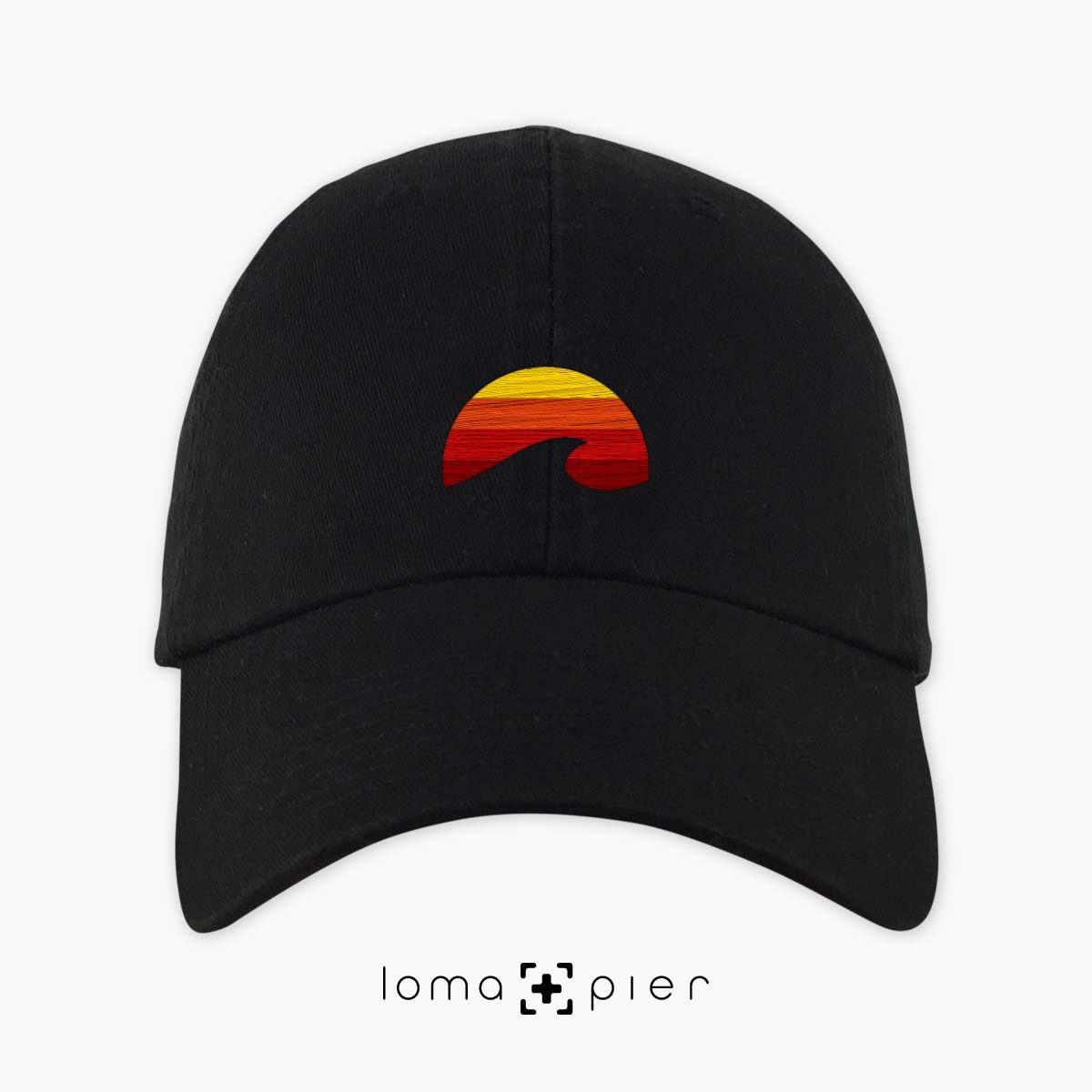 PACIFIC SUN icon embroidered on a black dad hat by loma+pier hat store made in the USA