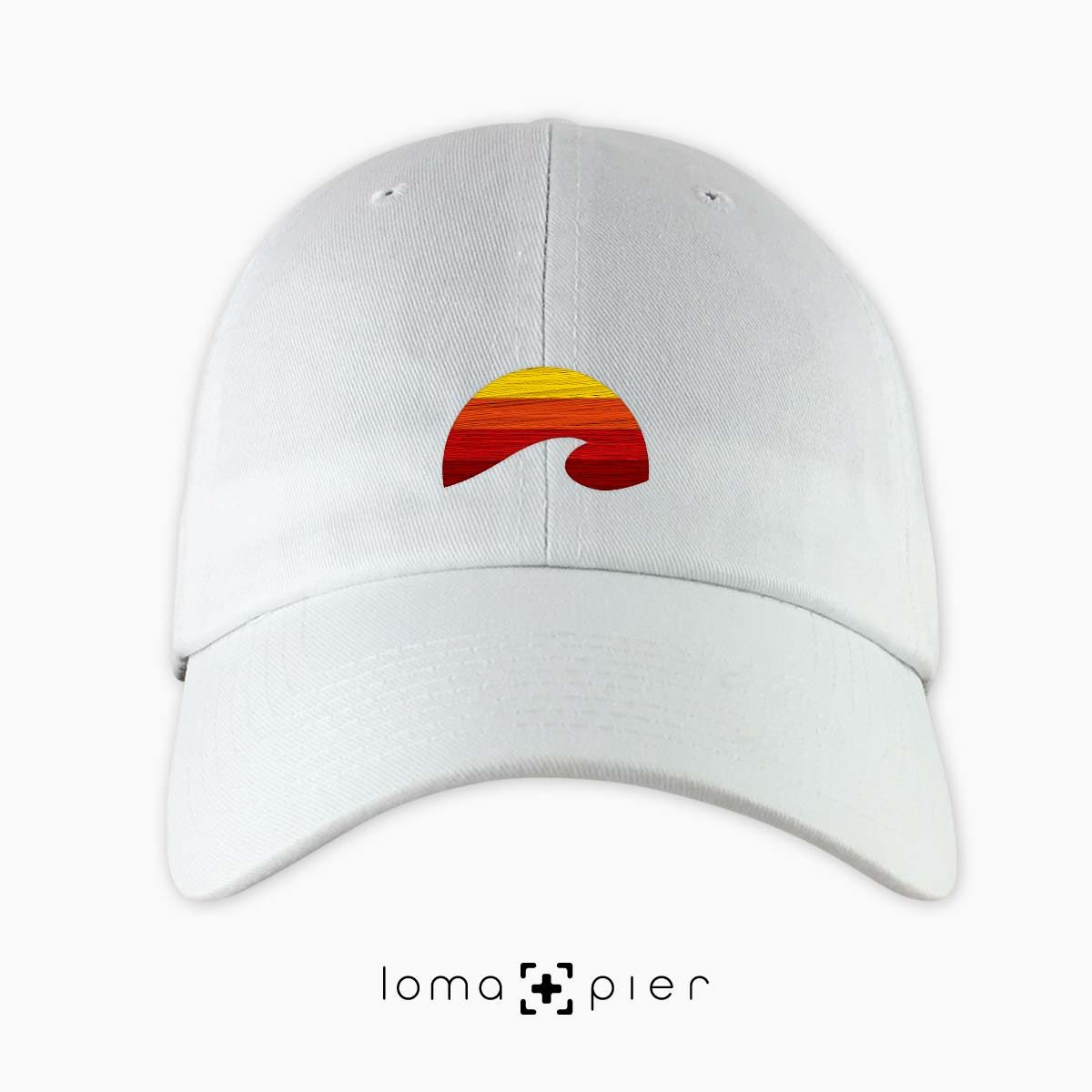 PACIFIC SUN icon embroidered on a white dad hat by loma+pier hat store made in the USA