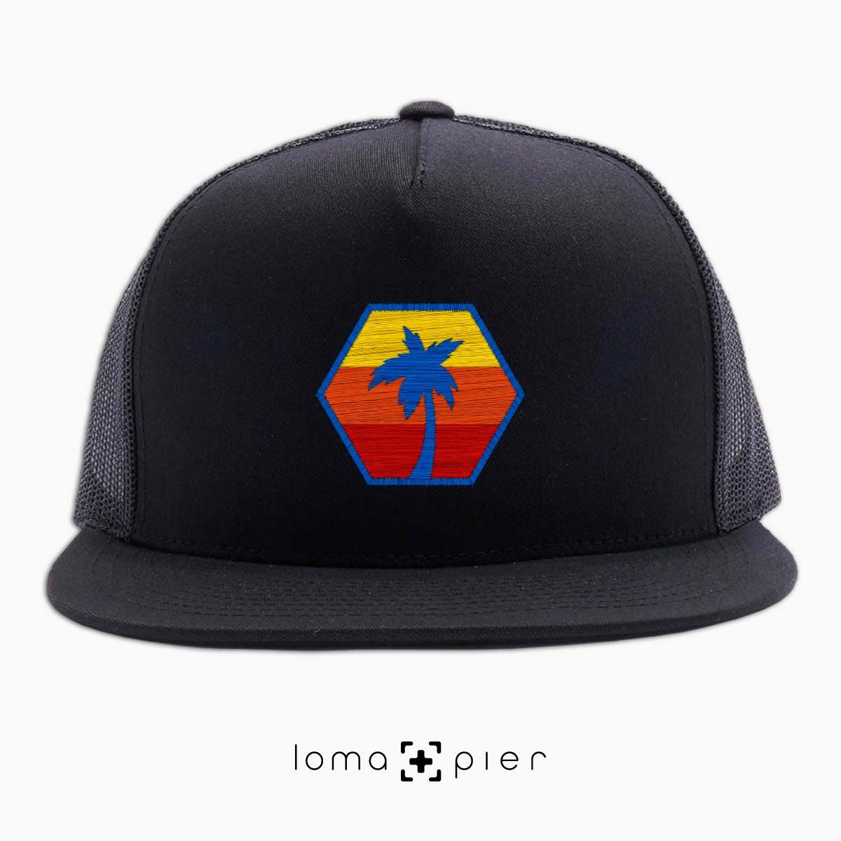 HEXAGON TO THE BEACH netback hat in black by loma+pier hat store