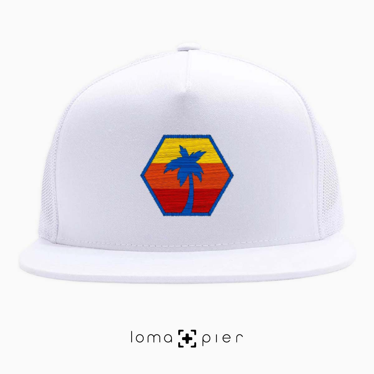 HEXAGON TO THE BEACH netback hat in white by loma+pier hat store