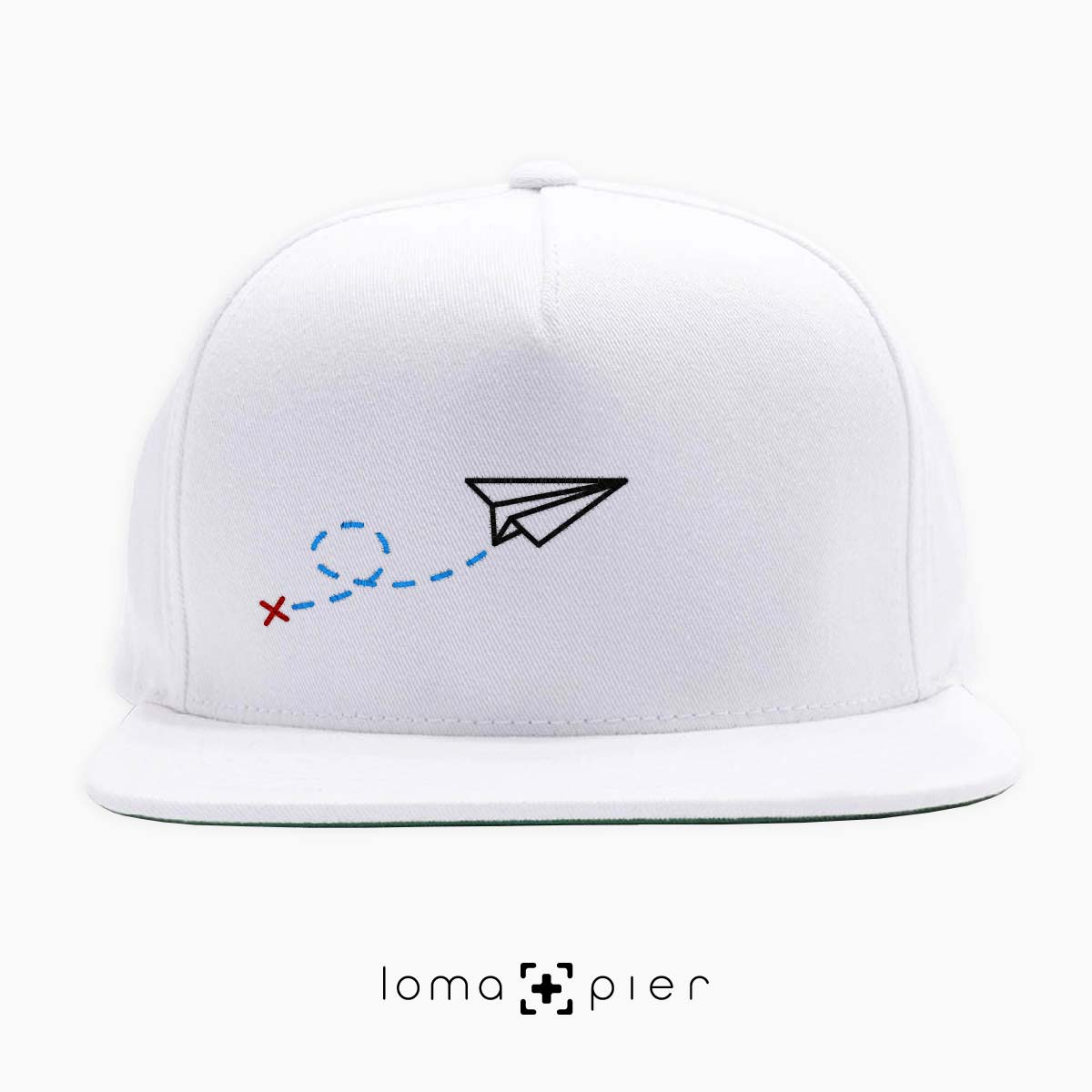 4efbeb4f PAPER AIRPLANE icon embroidered on a white classic snapback hat by loma+pier  hat store