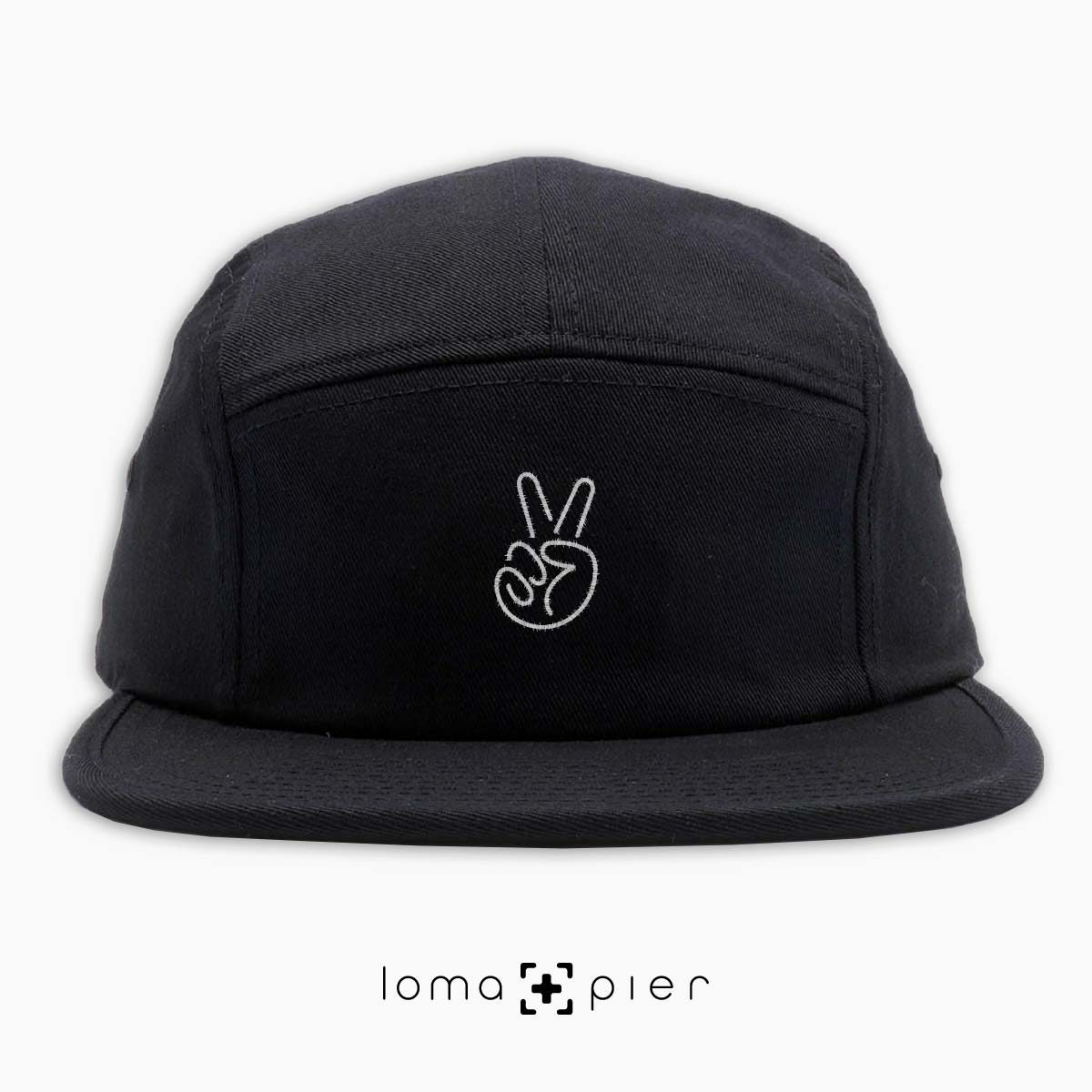 PEACE HAND icon embroidered on a black cotton 5-panel hat with white thread by loma+pier hat store