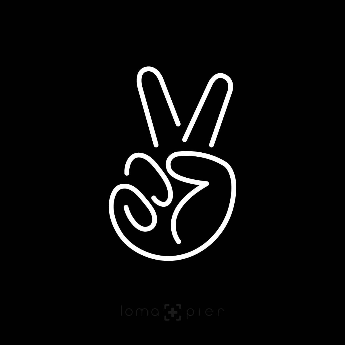 PEACE SIGN HAND icon design by loma+pier hat store