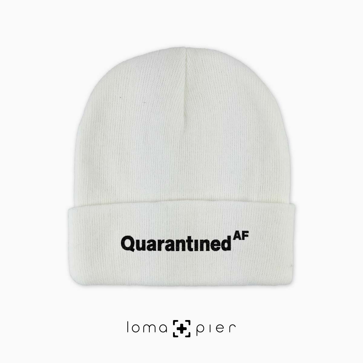 QUARANTINED AF cuffed beanie by lam and pier het shop