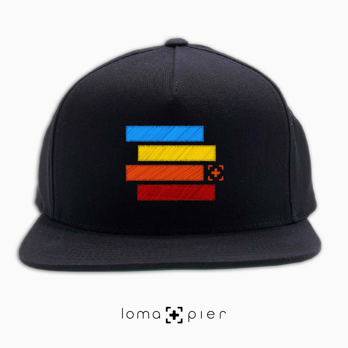rainbow stack snapback hat in black by loma+pier