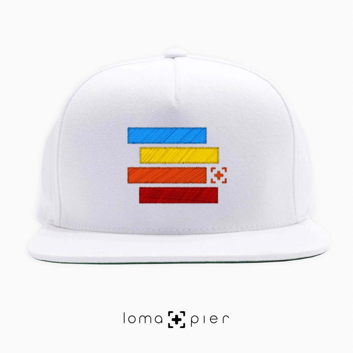 rainbow stack snapback hat in white by loma+pier