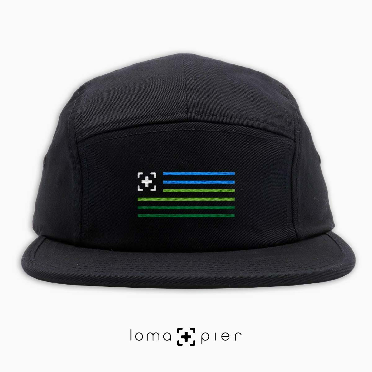 loma+stripes icon embroidered on a black cotton 5-panel hat by loma+pier hat store