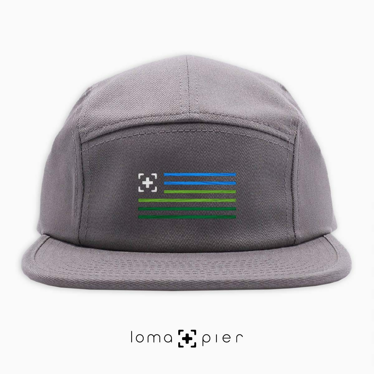 loma+stripes icon embroidered on a grey cotton 5-panel hat by loma+pier hat store